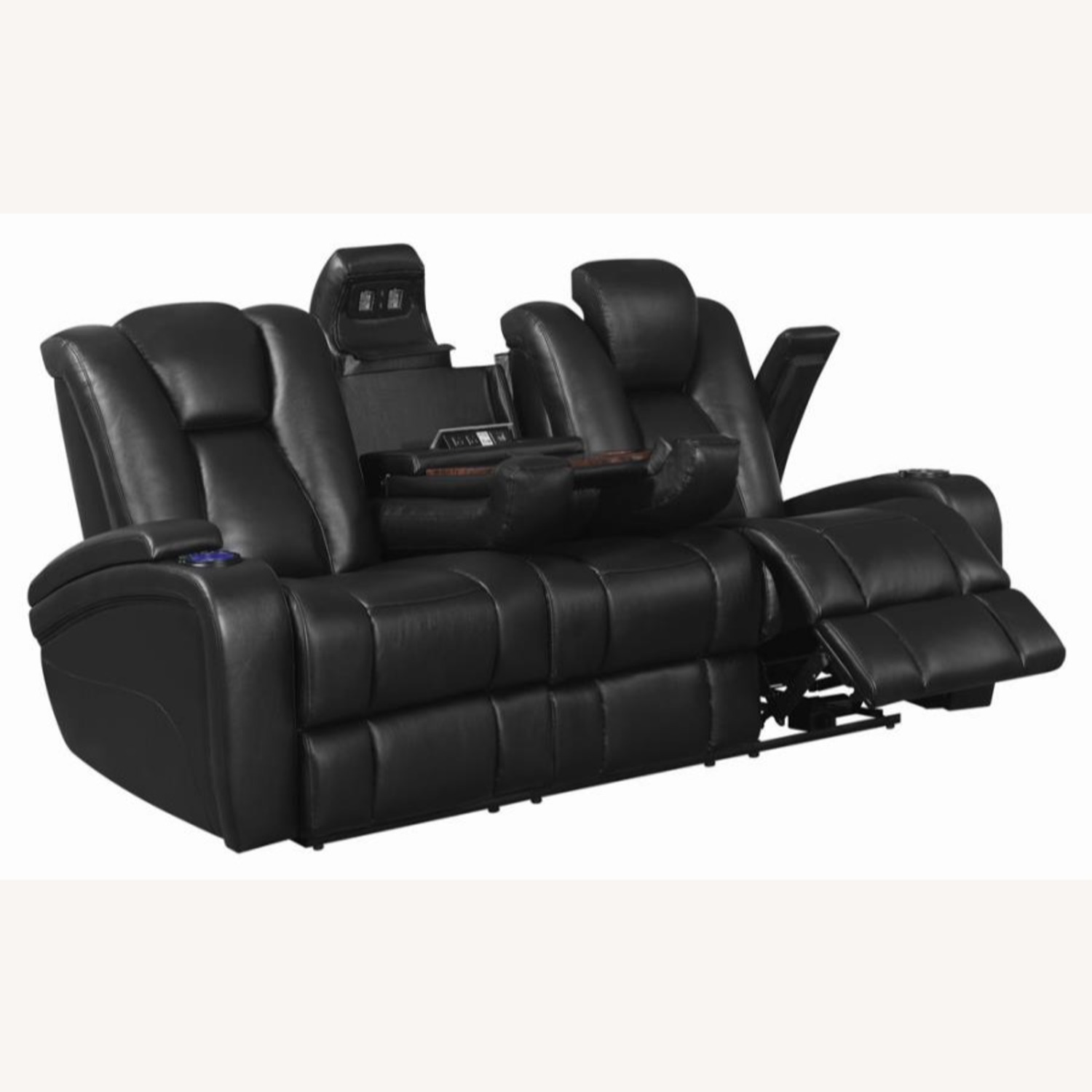 Power2 Sofa In Black Breathable Leather  - image-2