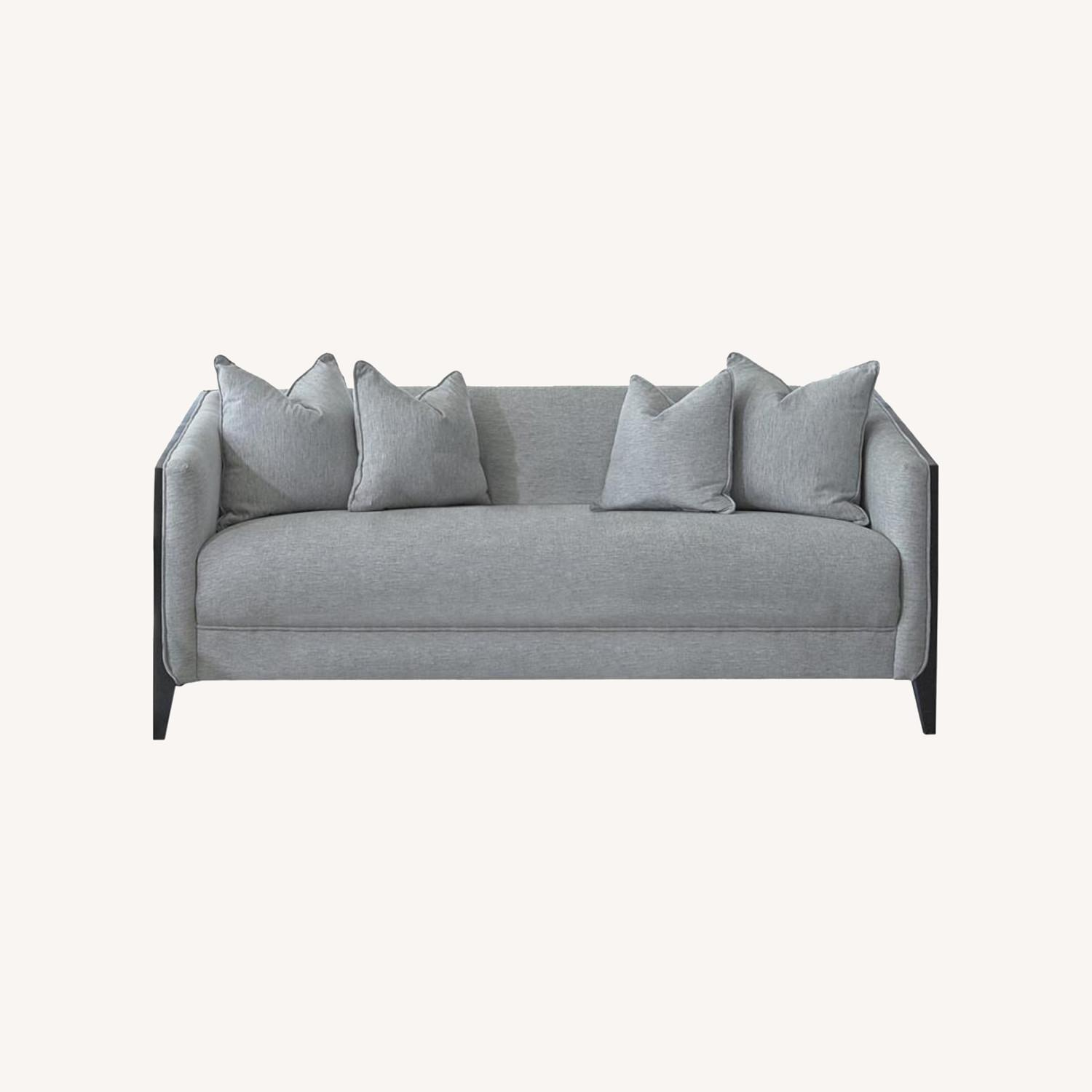 Sofa In Dove Grey Low Pile Chenille Upholstery - image-3