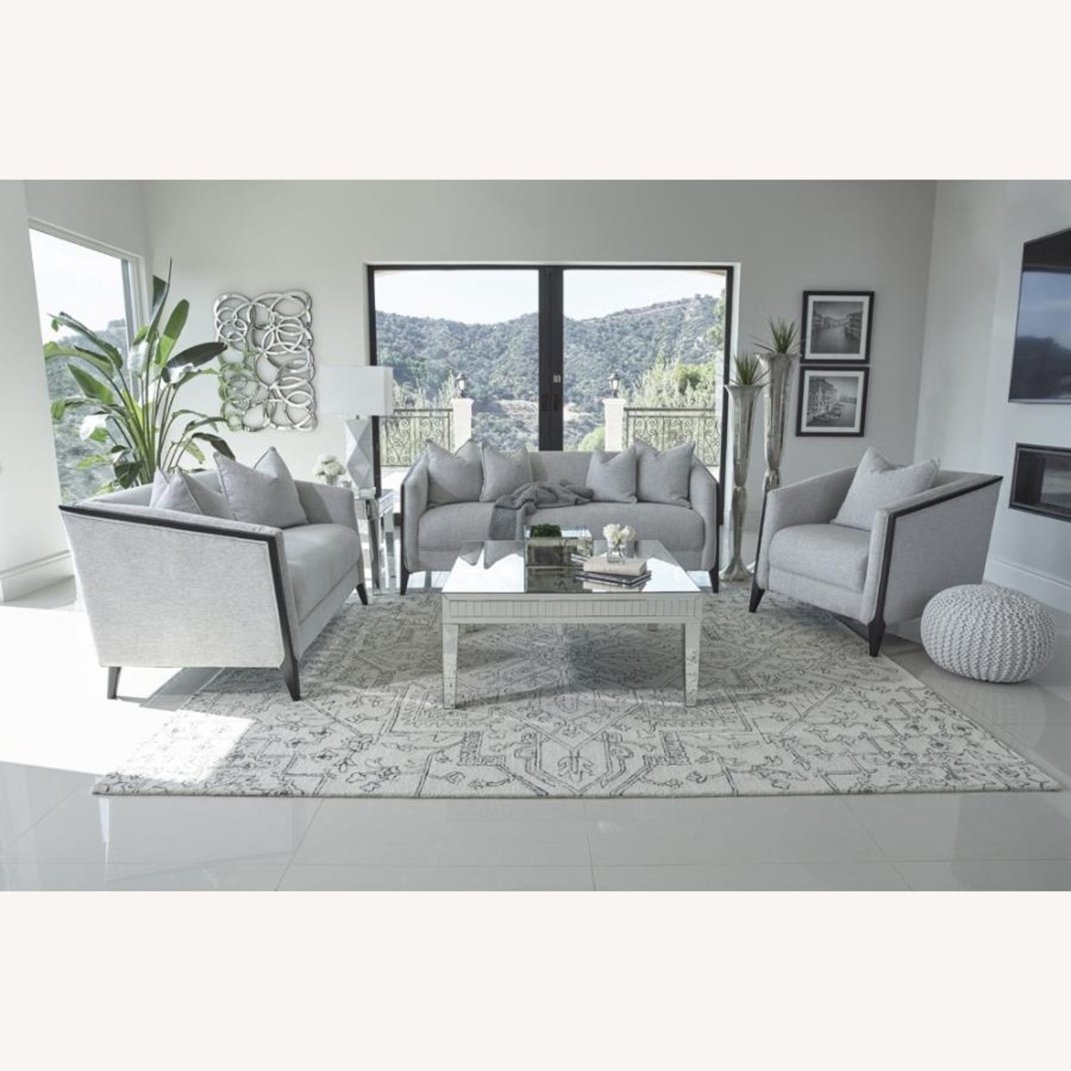 Sofa In Dove Grey Low Pile Chenille Upholstery - image-2