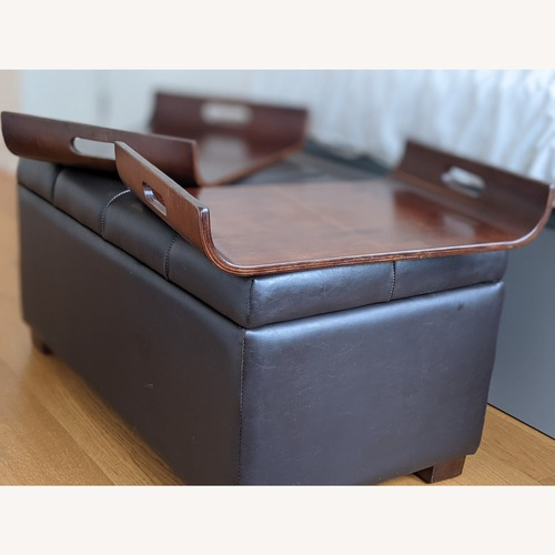 Used Andover Mills Ottoman with Storage & 2 Wooden Trays for sale on AptDeco