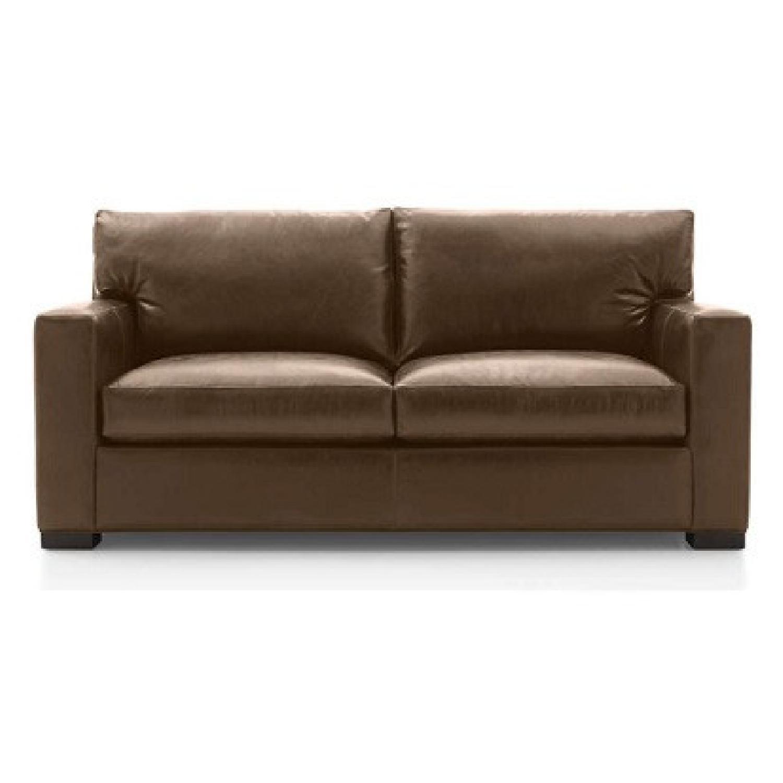 Crate & Barrel Leather Full Sleeper Sofa - image-5