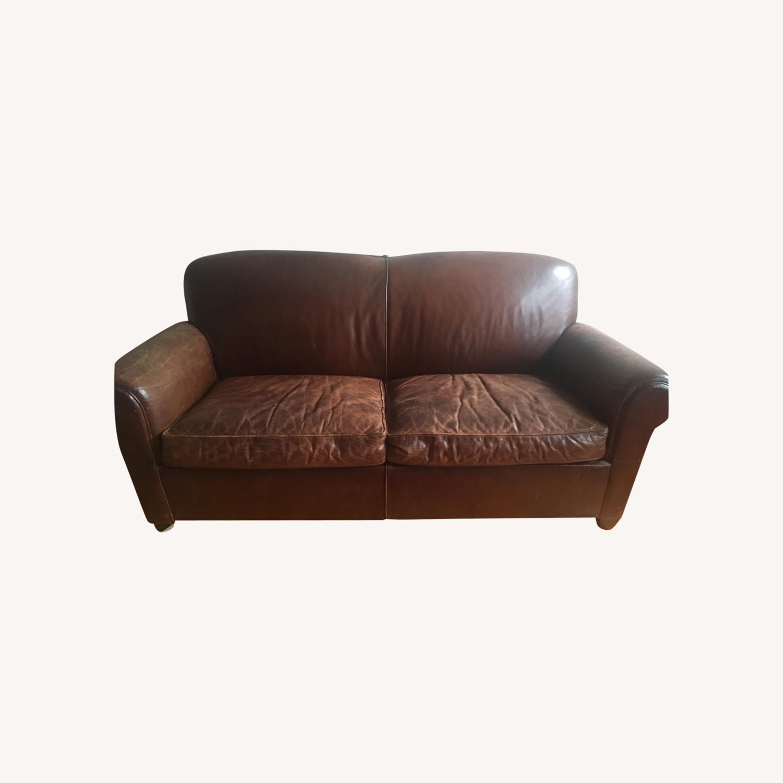 Crate & Barrel Leather Full Sleeper Sofa - image-0