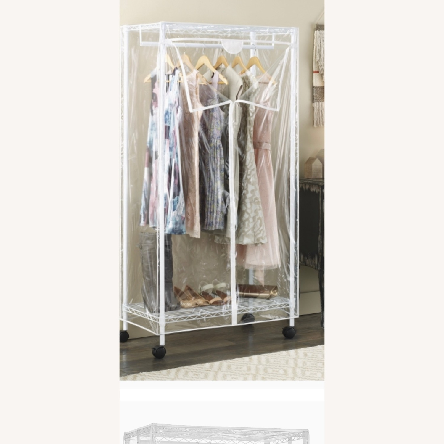 White Modern Clothes Storage Rack - image-1