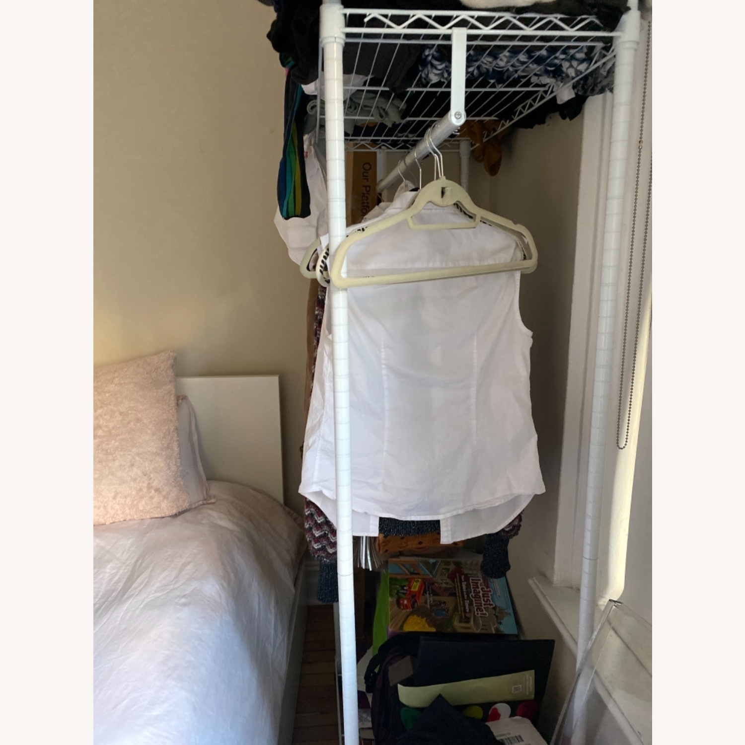White Modern Clothes Storage Rack - image-4