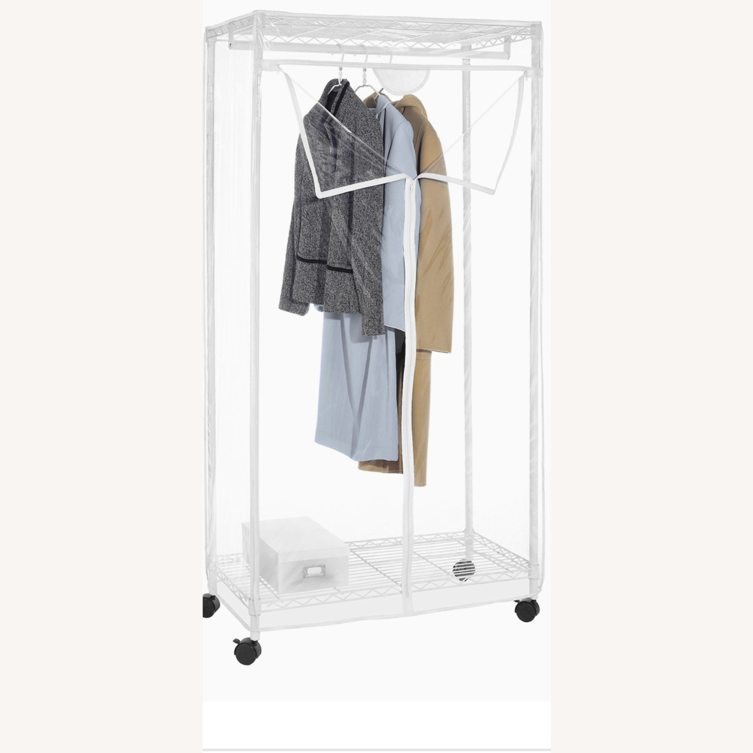White Modern Clothes Storage Rack - image-2