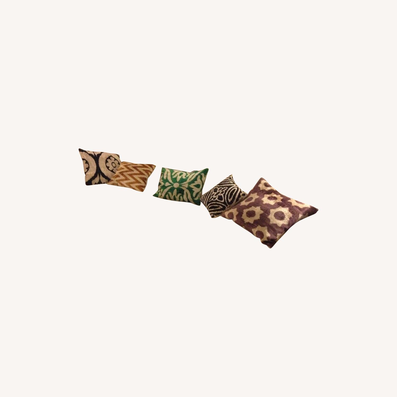 Handwoven Silk Velvet IKAT Set of 5 Pillows - image-11