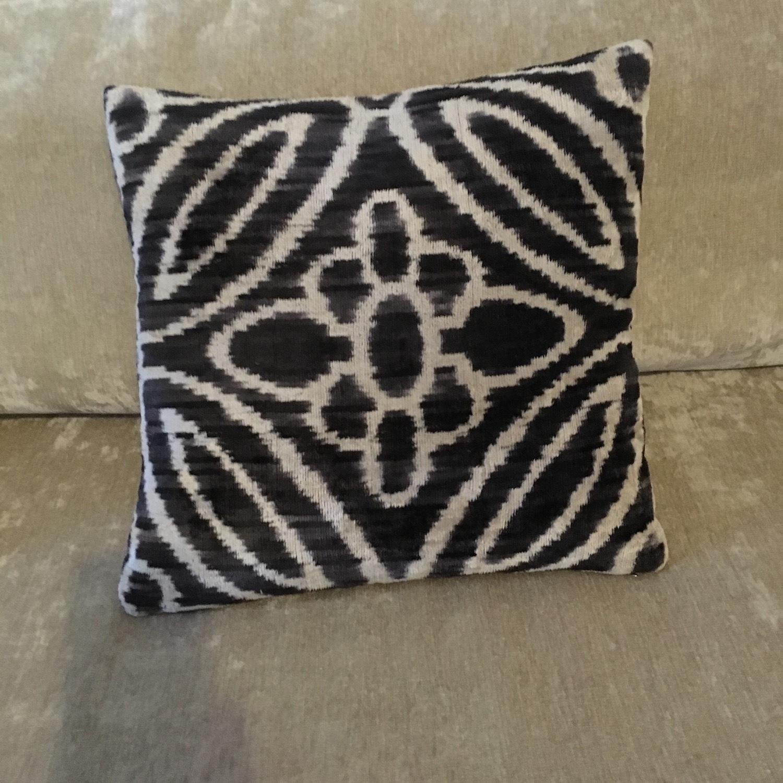Handwoven Silk Velvet IKAT Set of 5 Pillows - image-13