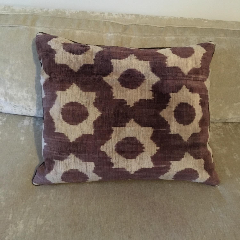 Handwoven Silk Velvet IKAT Set of 5 Pillows - image-15