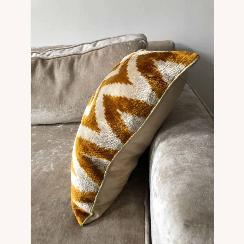 Handwoven Silk Velvet IKAT Set of 5 Pillows - image-26