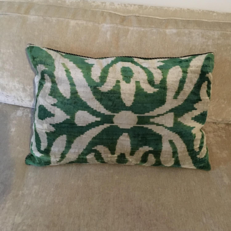 Handwoven Silk Velvet IKAT Set of 5 Pillows - image-16