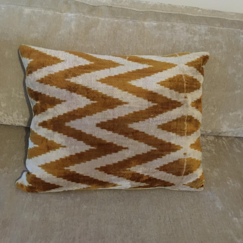 Handwoven Silk Velvet IKAT Set of 5 Pillows - image-14