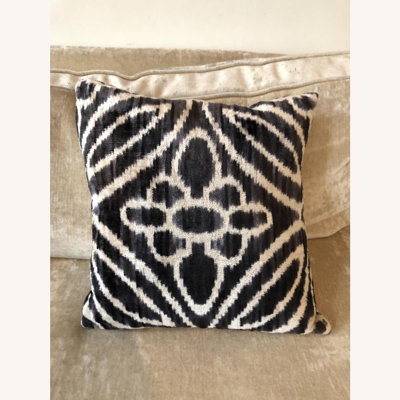 Handwoven Silk Velvet IKAT Set of 5 Pillows - image-3