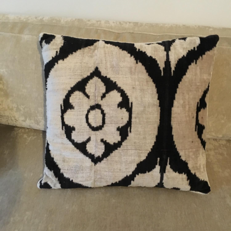 Handwoven Silk Velvet IKAT Set of 5 Pillows - image-21