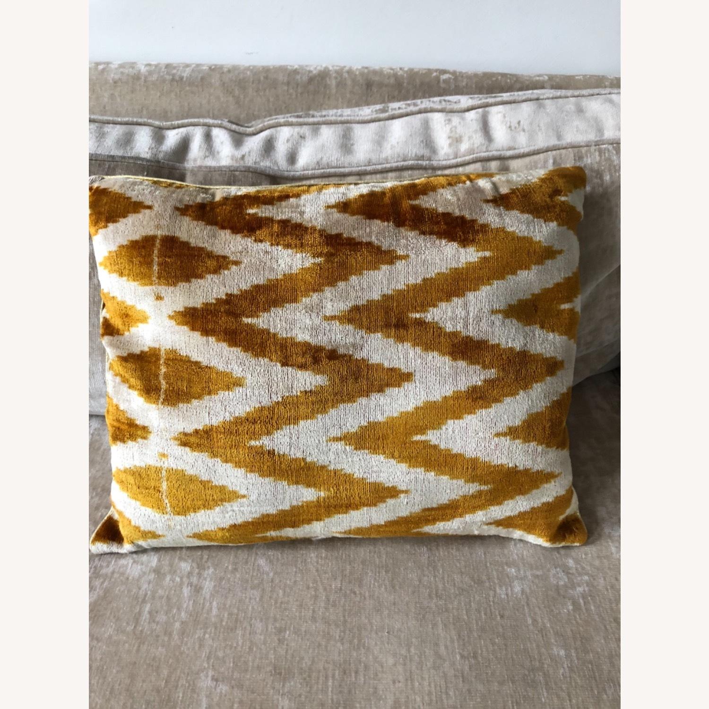Handwoven Silk Velvet IKAT Set of 5 Pillows - image-8