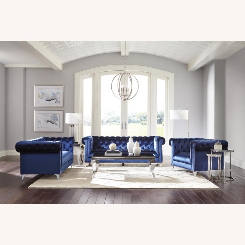 Sofa In Blue Velvet W/ Silver Tapered Legs - image-2
