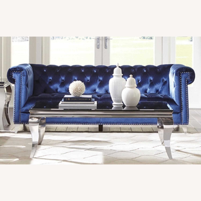 Sofa In Blue Velvet W/ Silver Tapered Legs - image-0