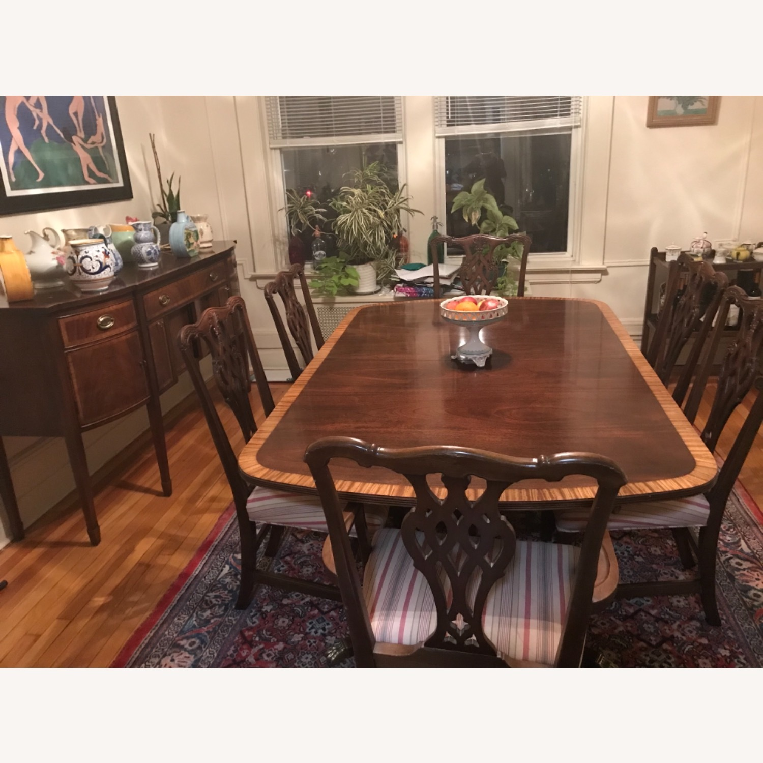 Mahogany Dining Set with 2 Leaves and 6 Chairs - image-1