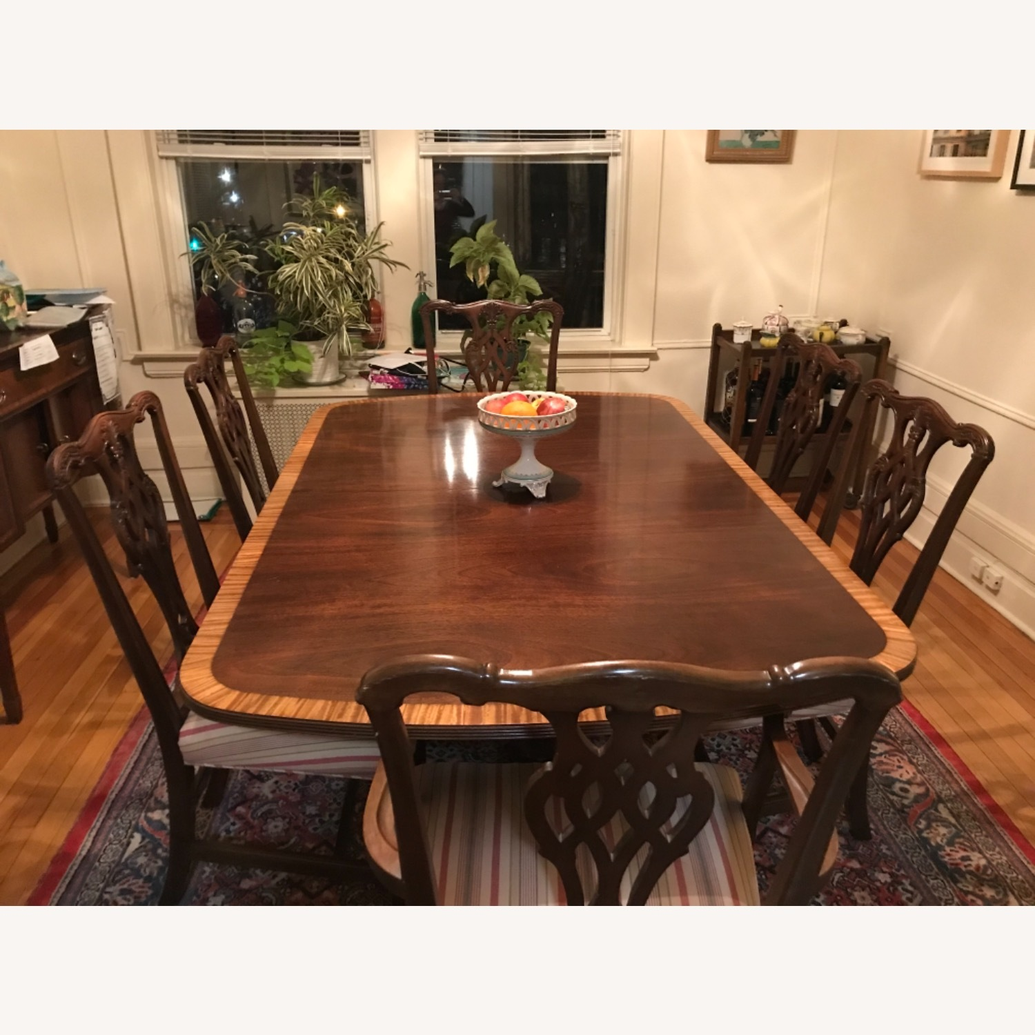 Mahogany Dining Set with 2 Leaves and 6 Chairs - image-2
