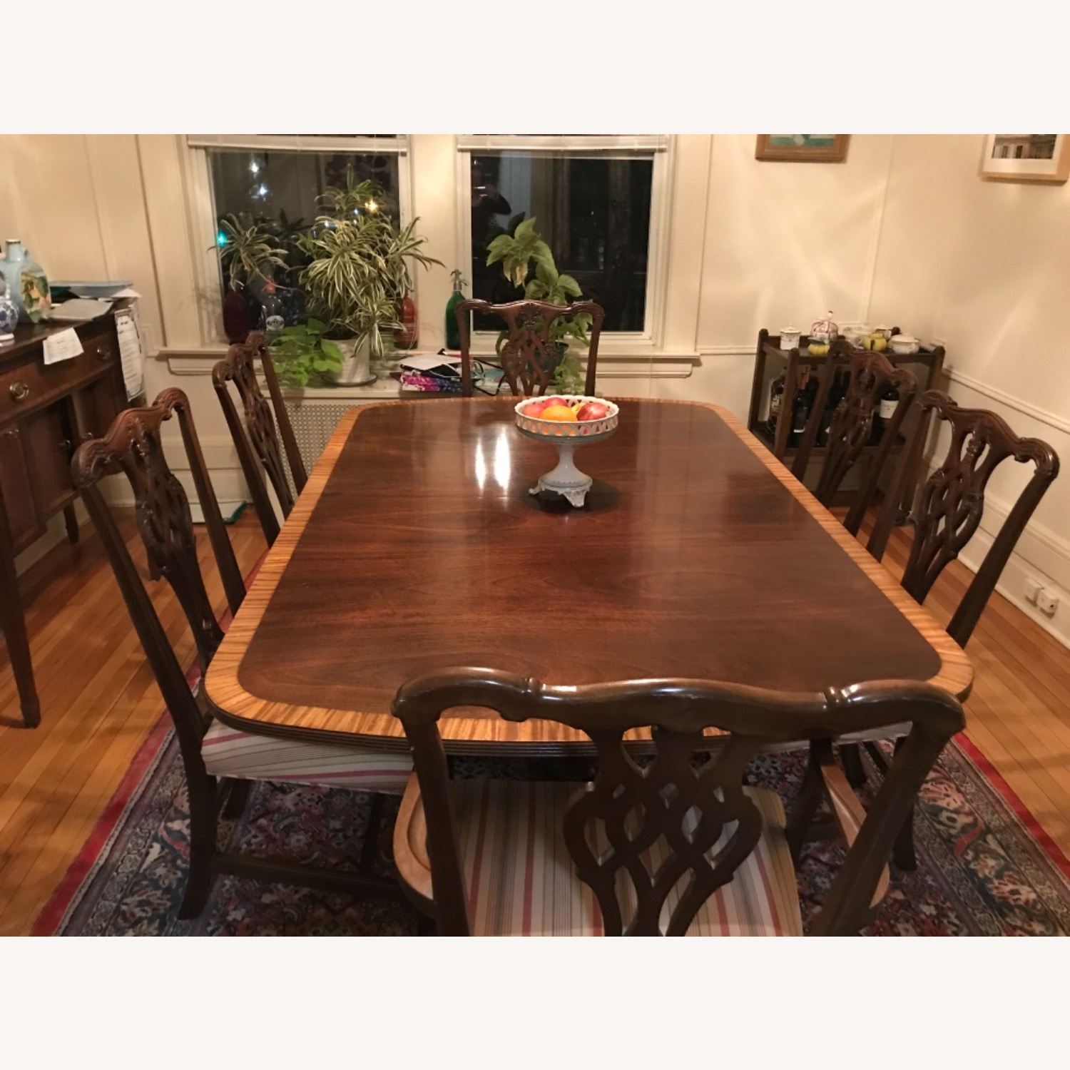Mahogany Dining Set with 2 Leaves and 6 Chairs - image-3
