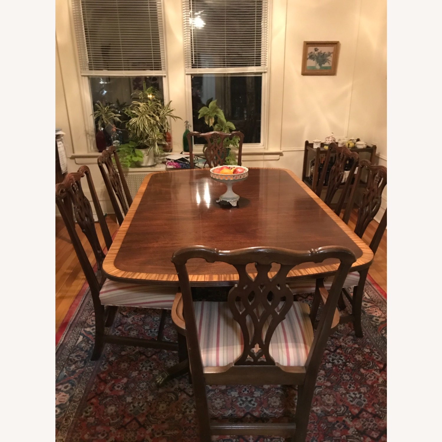 Mahogany Dining Set with 2 Leaves and 6 Chairs - image-4
