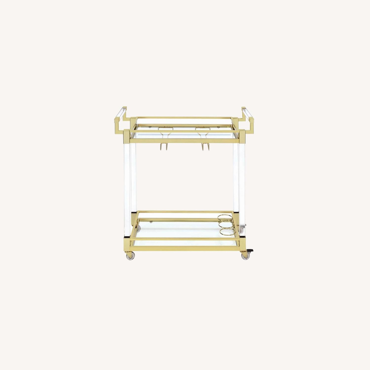 Serving Cart In Clear Acrylic & Brass Finish - image-5