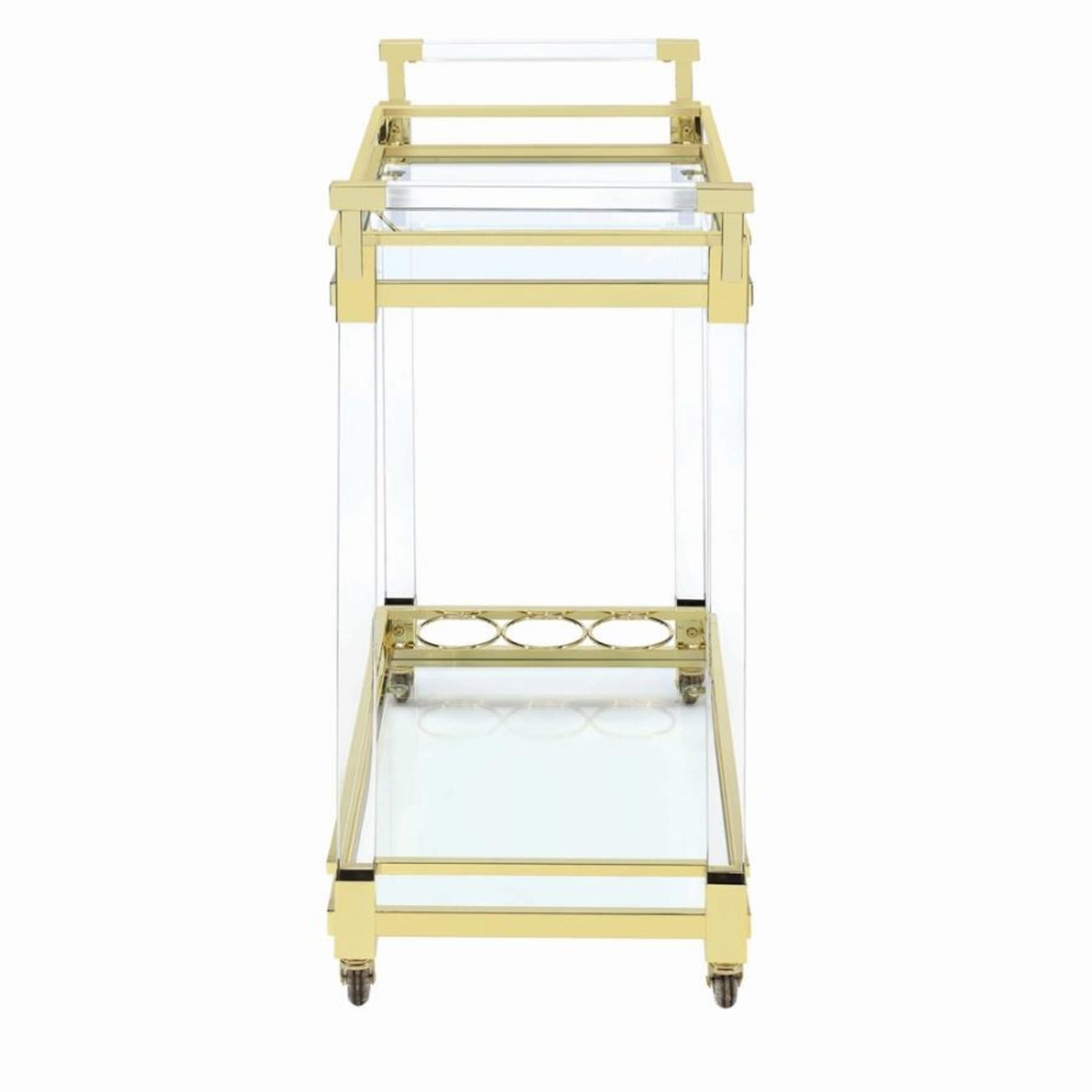 Serving Cart In Clear Acrylic & Brass Finish - image-2