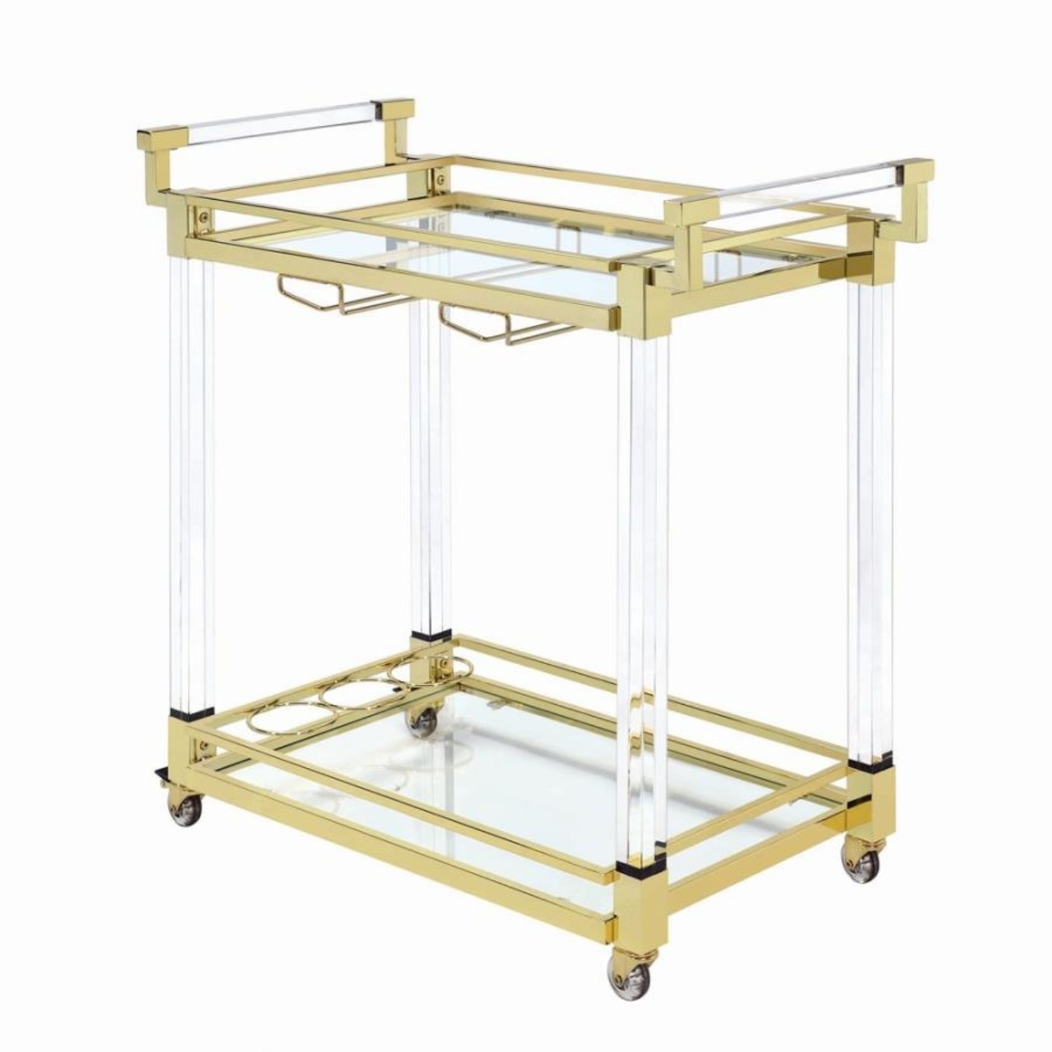 Serving Cart In Clear Acrylic & Brass Finish - image-0