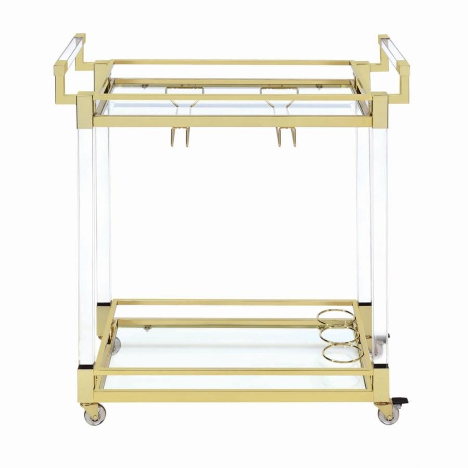 Serving Cart In Clear Acrylic & Brass Finish - image-1