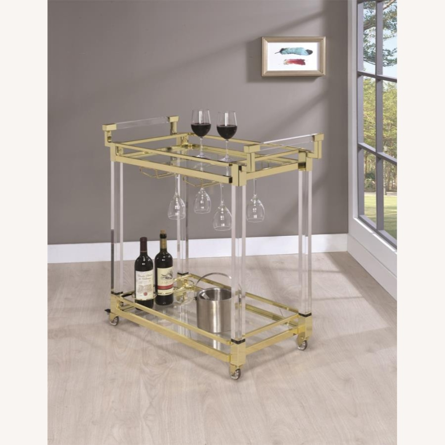 Serving Cart In Clear Acrylic & Brass Finish - image-4