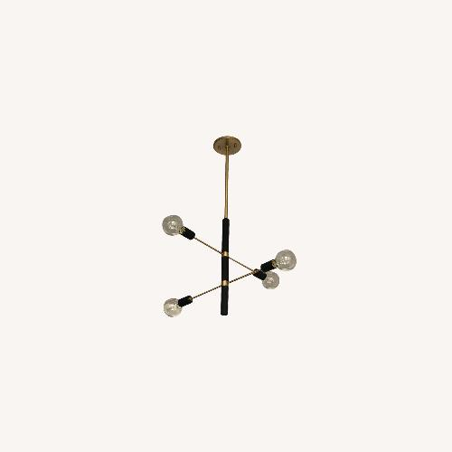 Used France & Son 4 Light Chandelier Aged Brass/Black for sale on AptDeco
