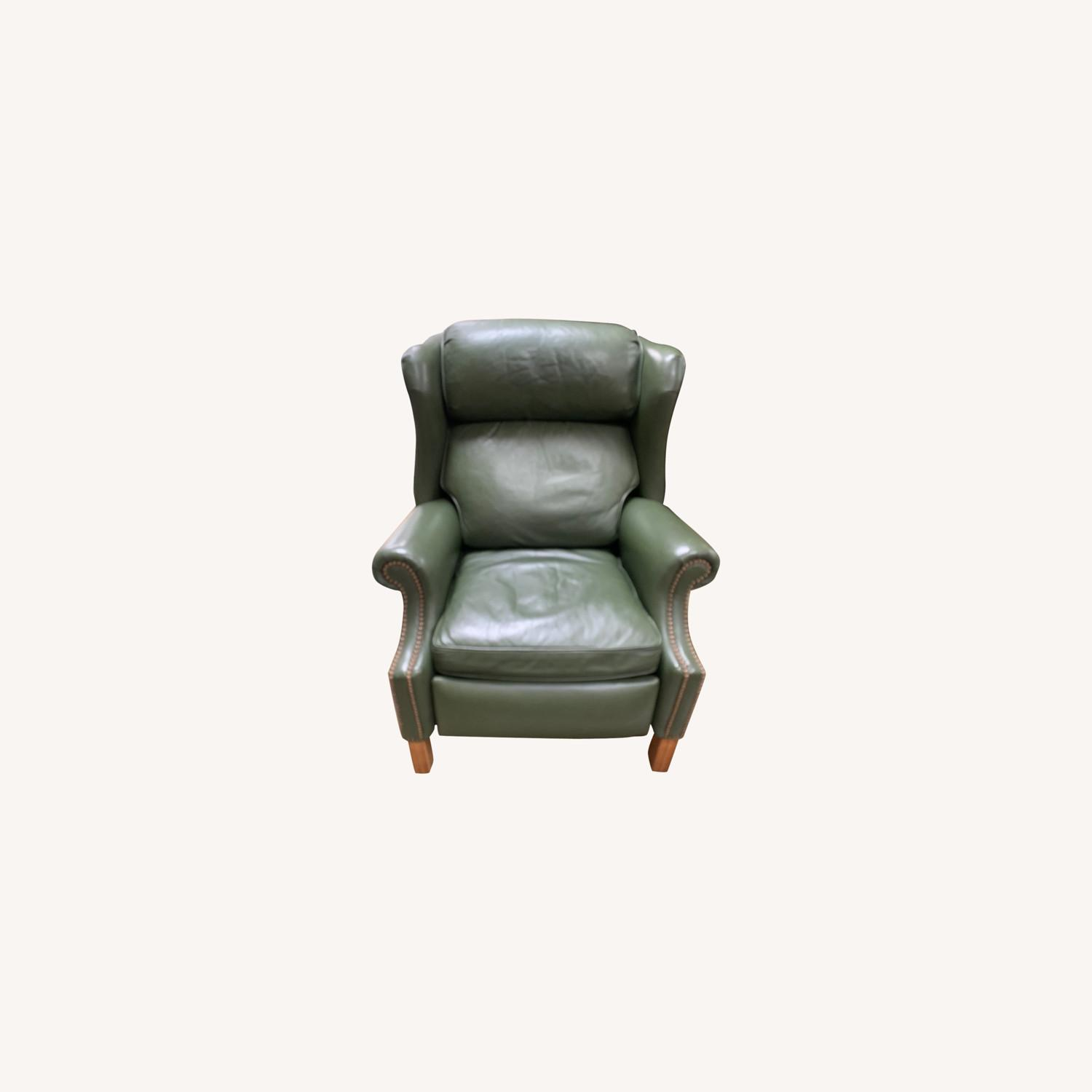 Ethan Allen Green Leather - image-0
