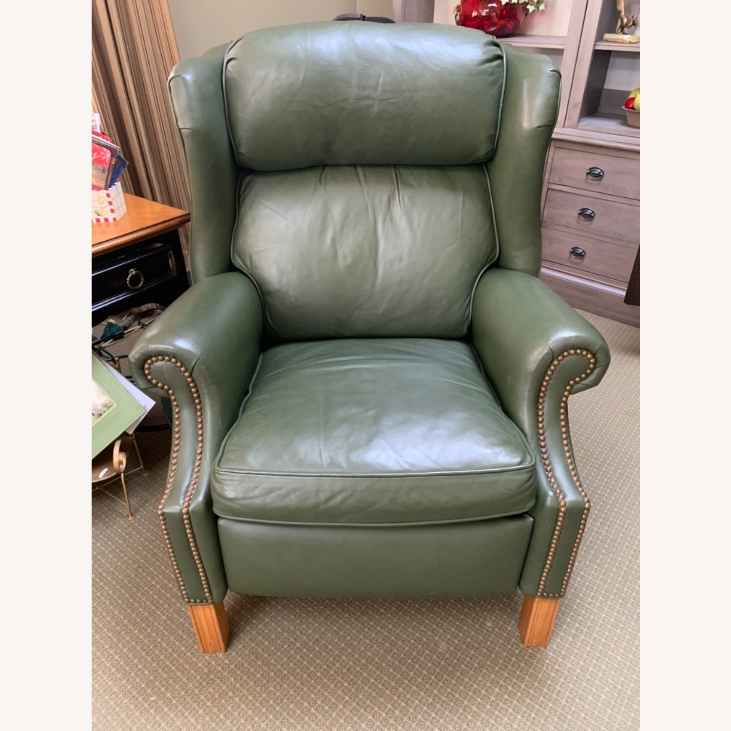 Ethan Allen Green Leather - image-5