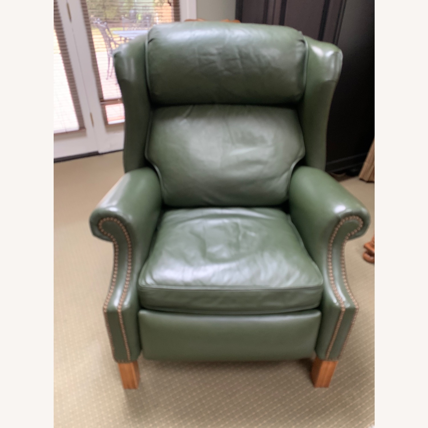 Ethan Allen Green Leather - image-2