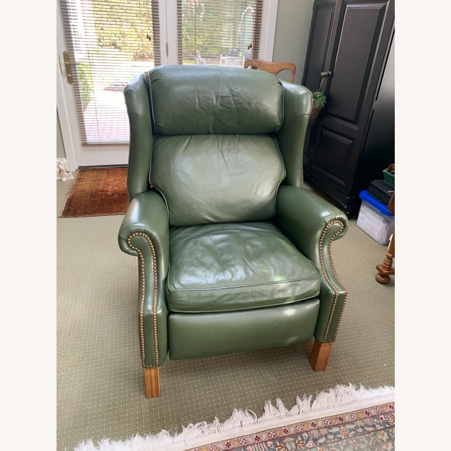 Ethan Allen Green Leather - image-7