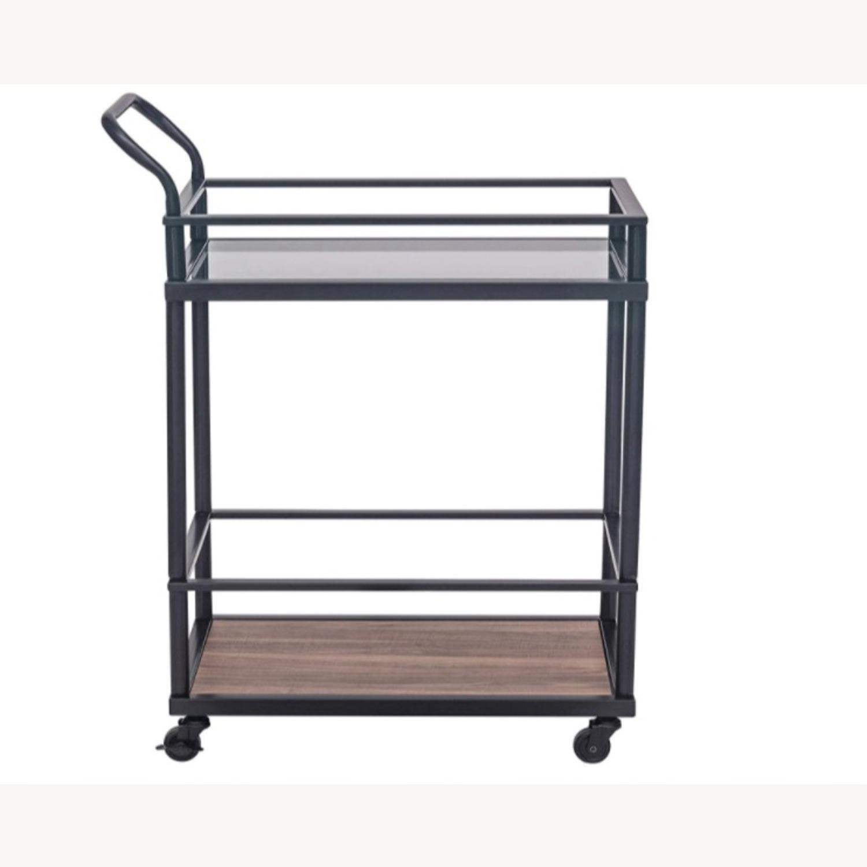 Mid Century Modern 2 Tier Rolling Bar Cart - image-0