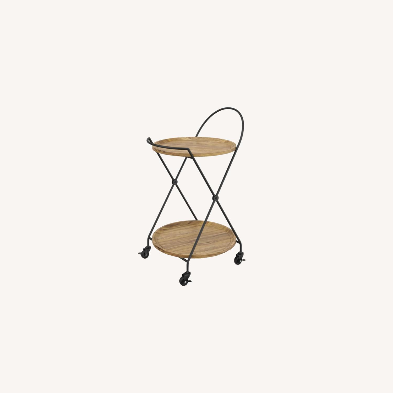 Modern 2 Tier Rolling Bar Cart Side Table - image-3