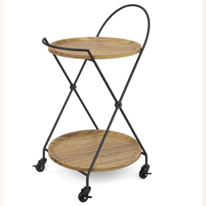 Modern 2 Tier Rolling Bar Cart Side Table - image-0