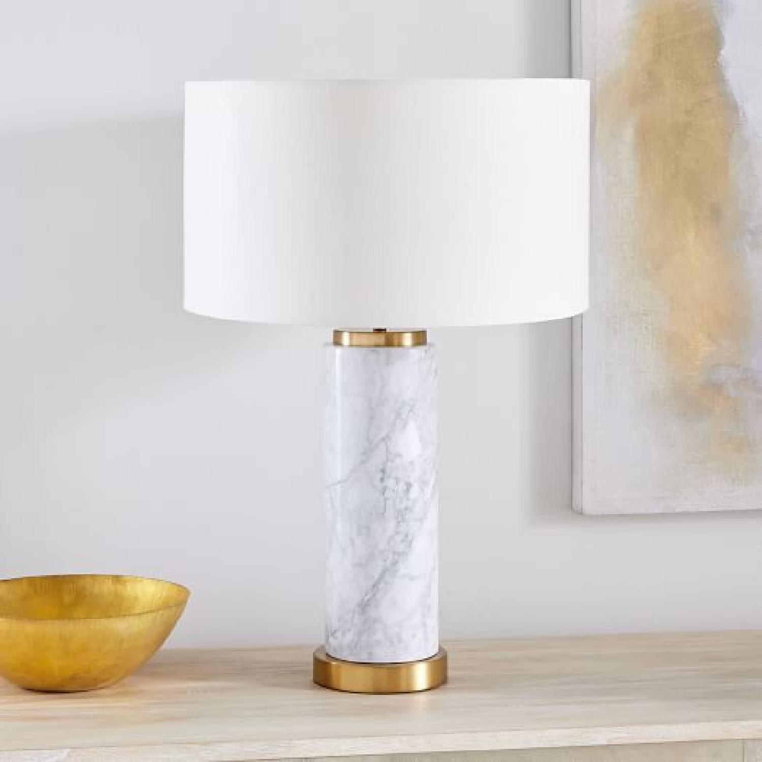 West Elm Pillar Marble Usb Table Lamp - image-4