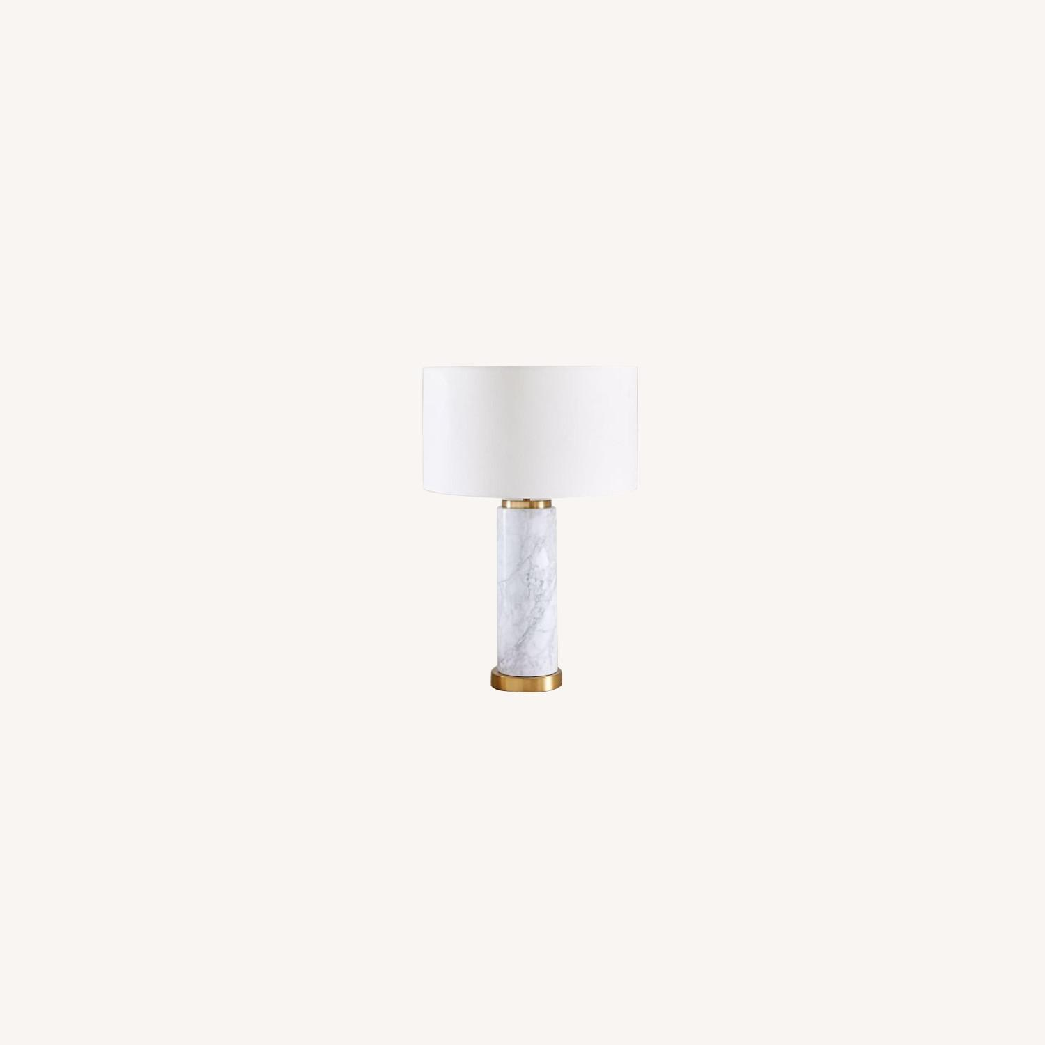 West Elm Pillar Marble Usb Table Lamp - image-0