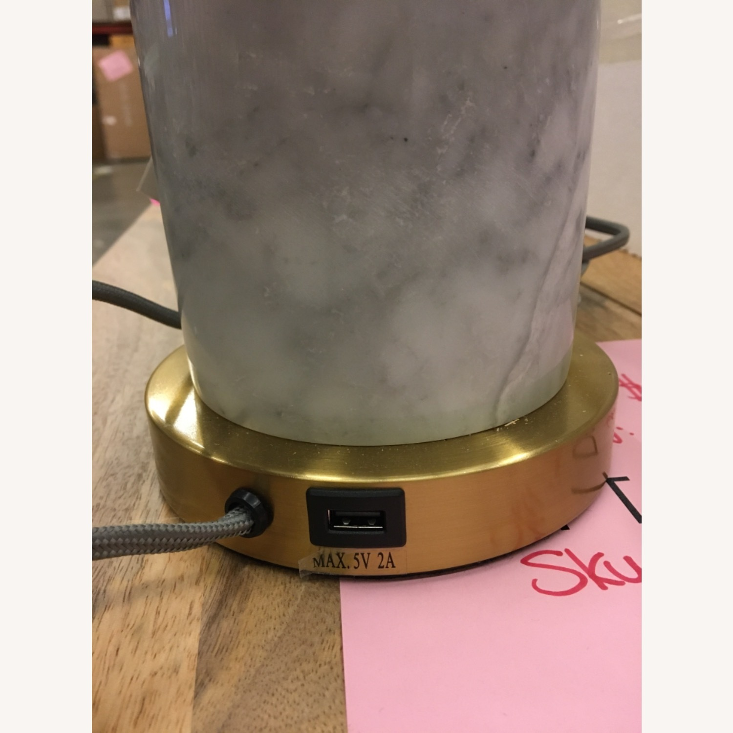 West Elm Pillar Marble Usb Table Lamp - image-2