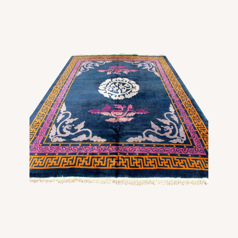 Handmade vintage Art Deco Chinese rug - image-0