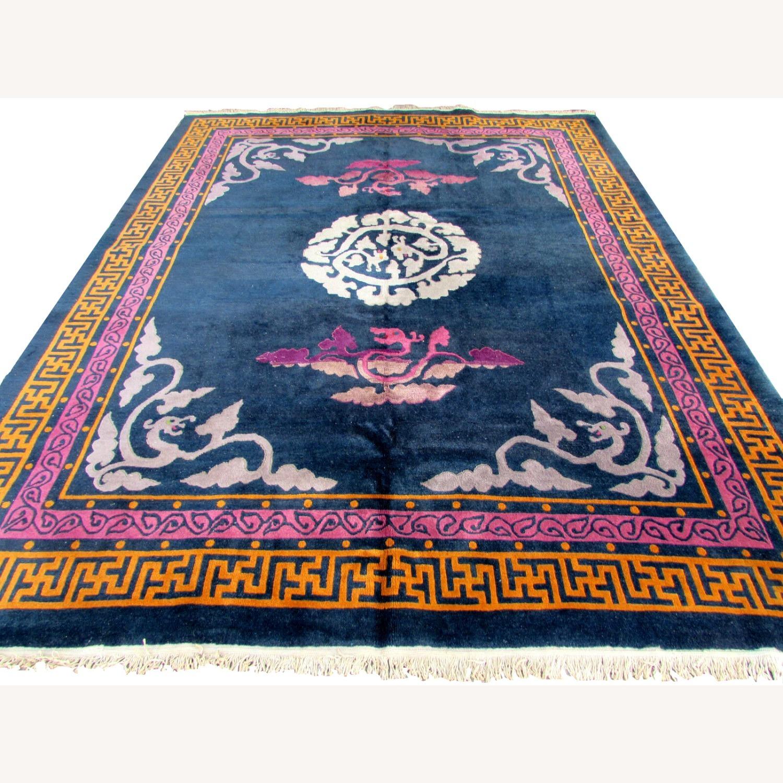 Handmade vintage Art Deco Chinese rug - image-11