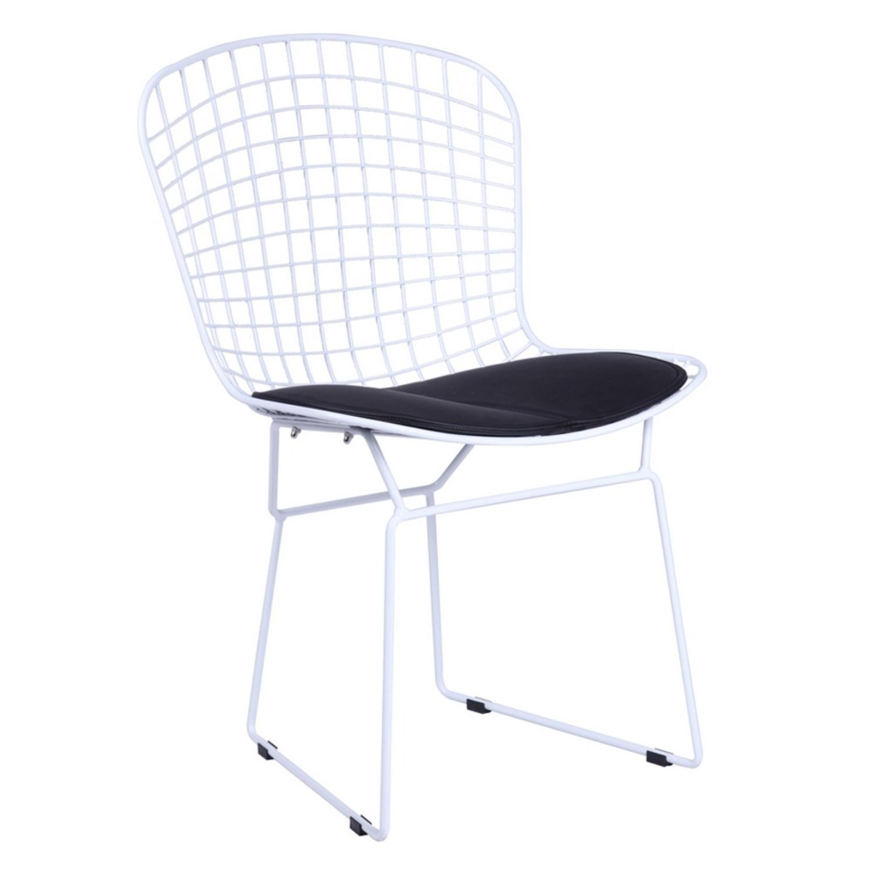 Wire Dining Chair W Black Leatherette Cushion Aptdeco