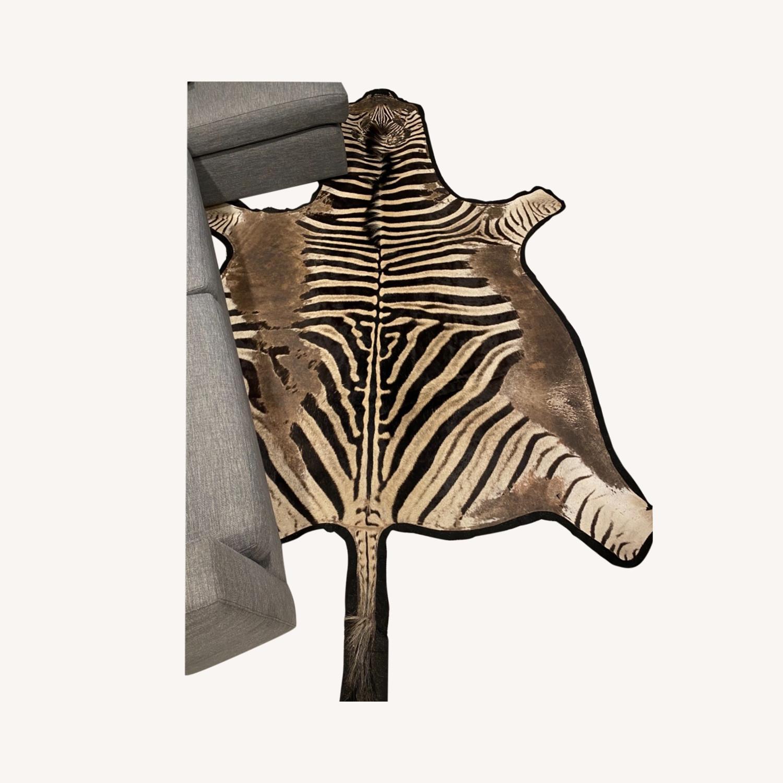 Vintage Real Zebra Hide Rug - image-0