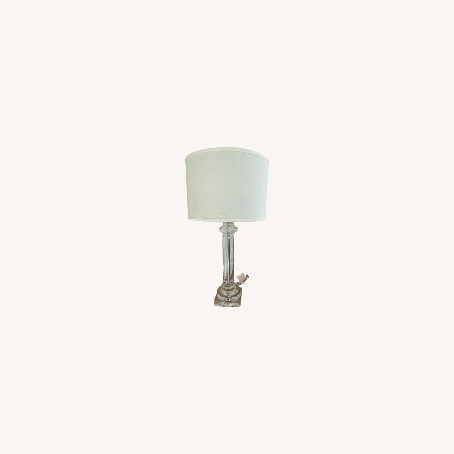 Elegant Glass Lamp with Linen Shade - image-0