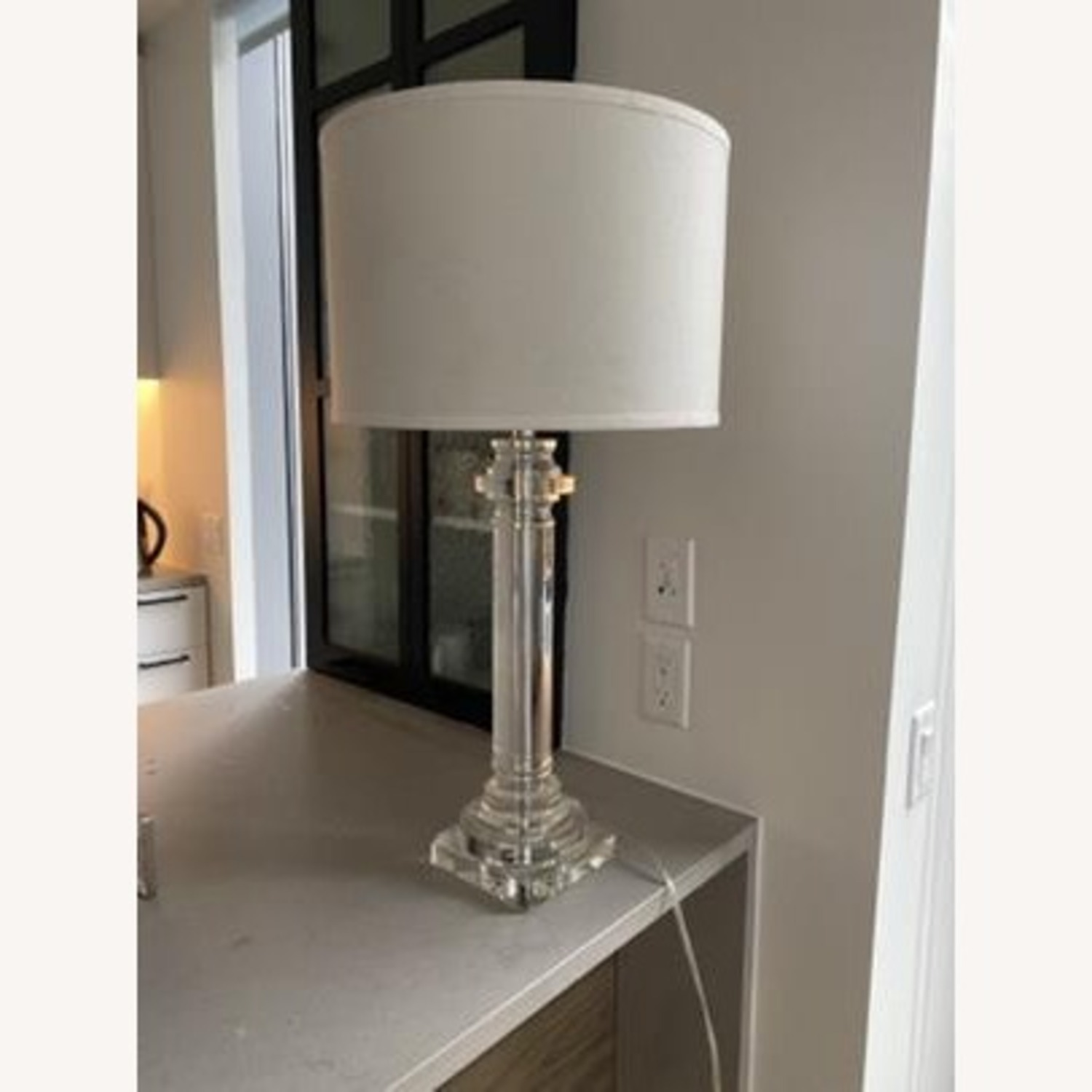 Elegant Glass Lamp with Linen Shade - image-1
