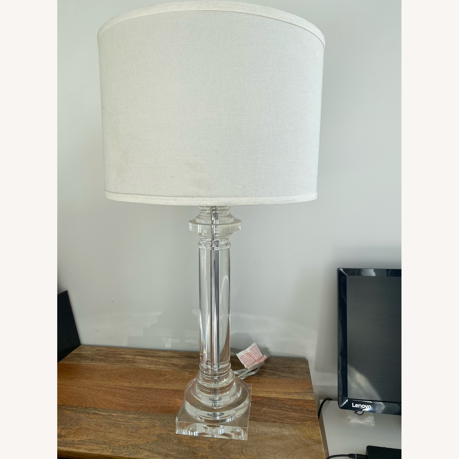 Elegant Glass Lamp with Linen Shade - image-5