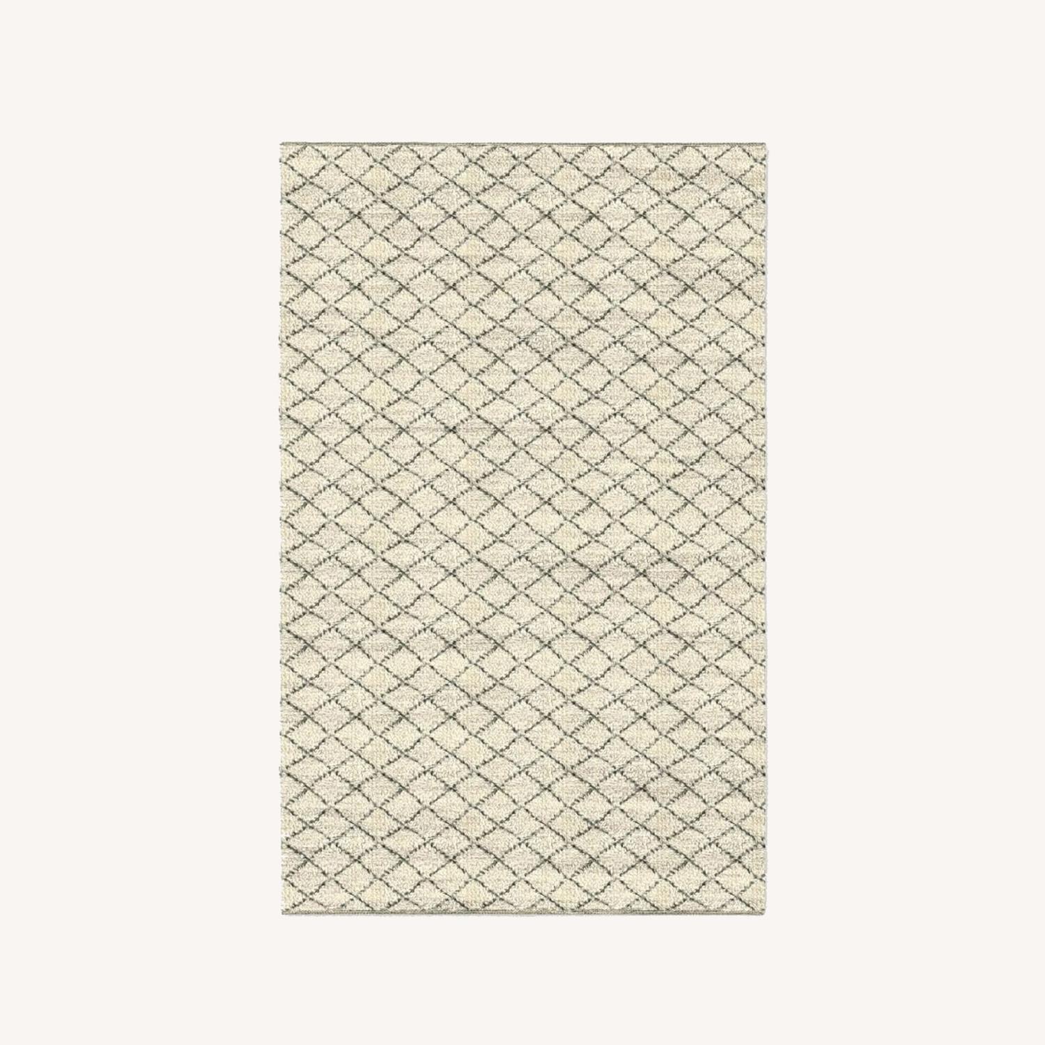 West Elm Watercolor Trellis Wool Shag Rug in Ivory - image-0