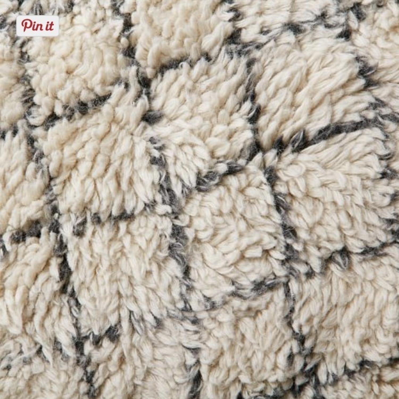 West Elm Watercolor Trellis Wool Shag Rug in Ivory - image-1