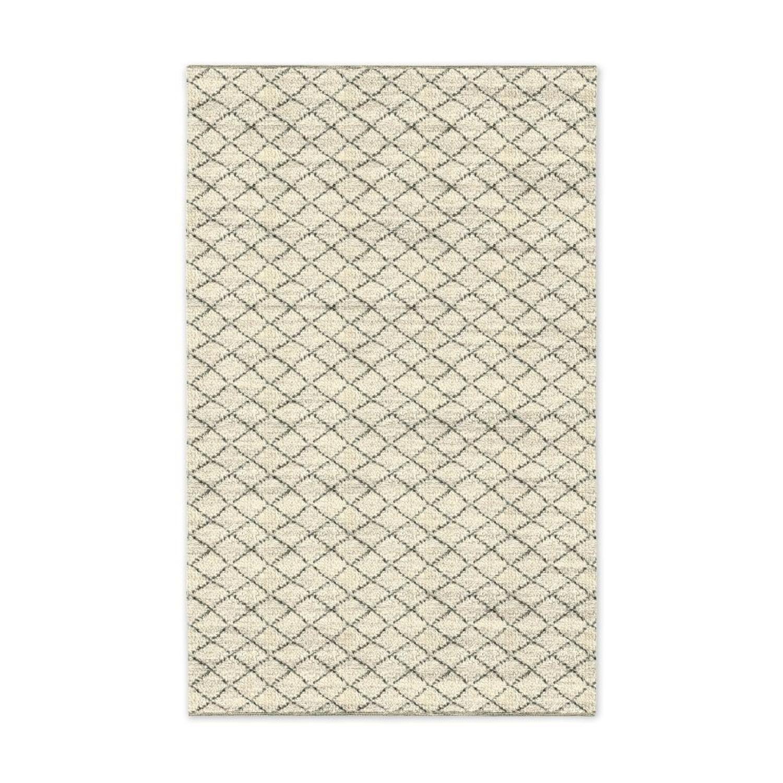 West Elm Watercolor Trellis Wool Shag Rug in Ivory - image-2